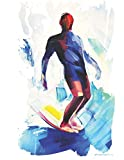 Longboard Surfer Hang Ten Notebook Surf Art Original (A4) Blank College Ruled Lined Pages Journal | Surf's Up...