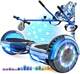 RCB Hoverboard 6.5 y Hoverkart Overboard con Bluetooth Patinete Eléctrico Scooter con Luces LED Asiento...